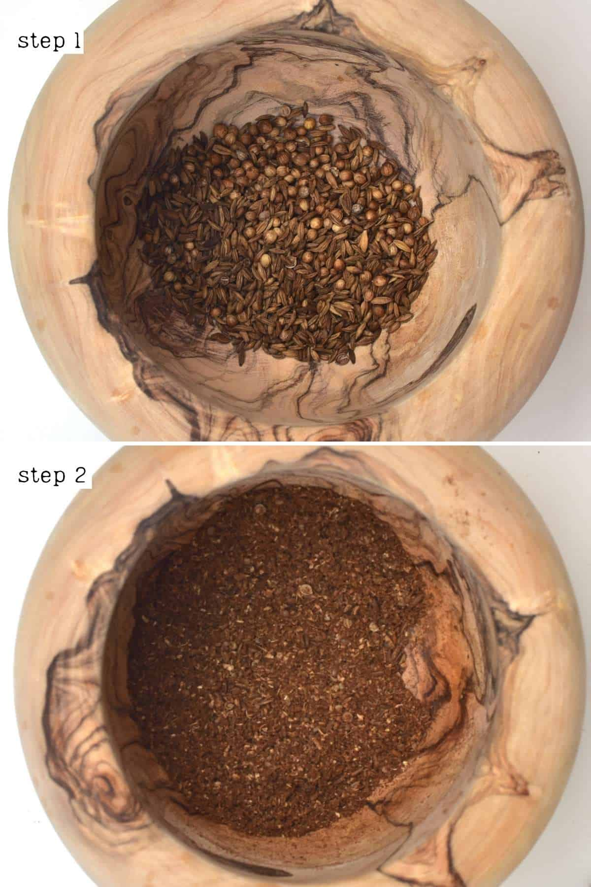 Grinding spices in a mortar