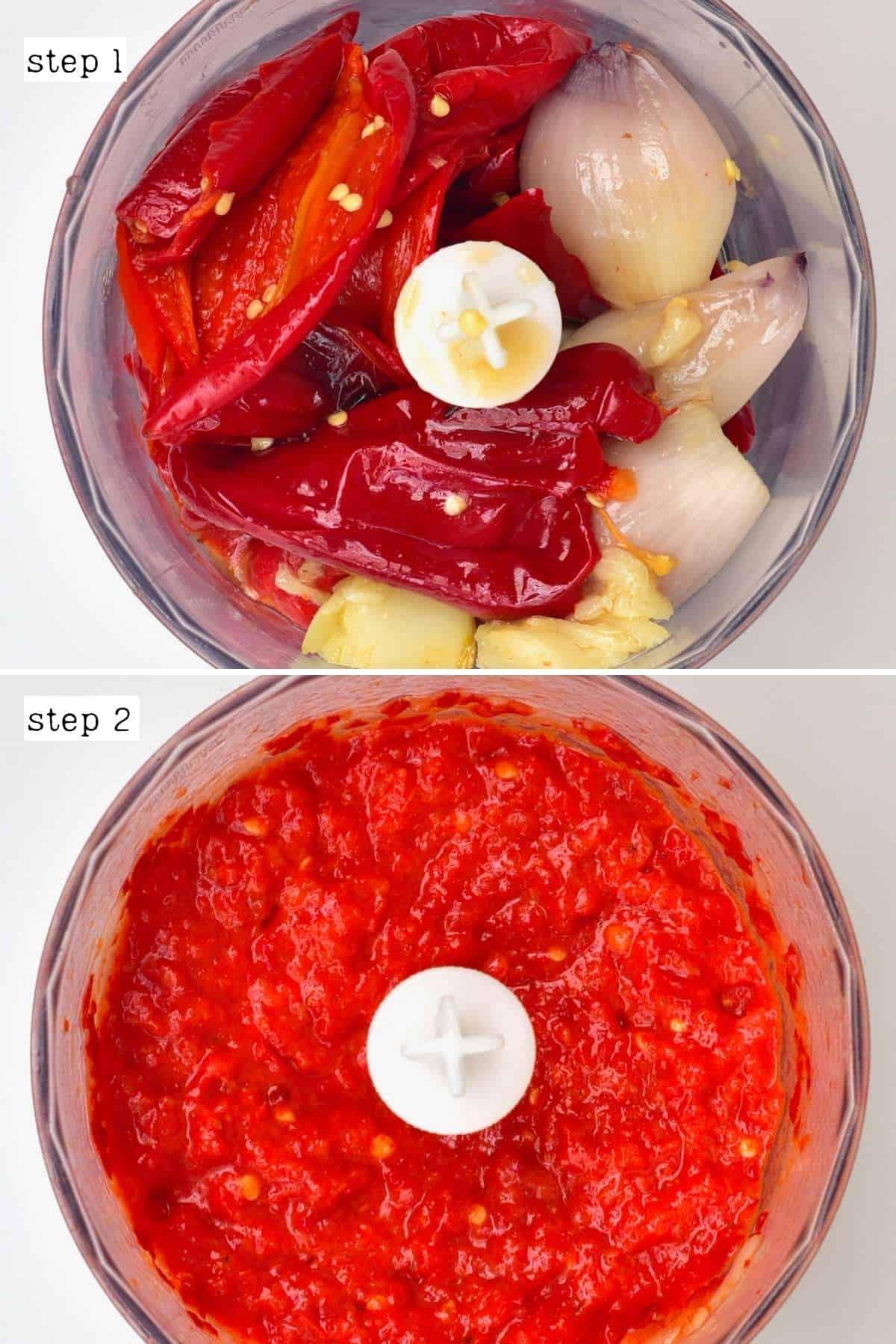 Steps for blending roasted harissa ingredients