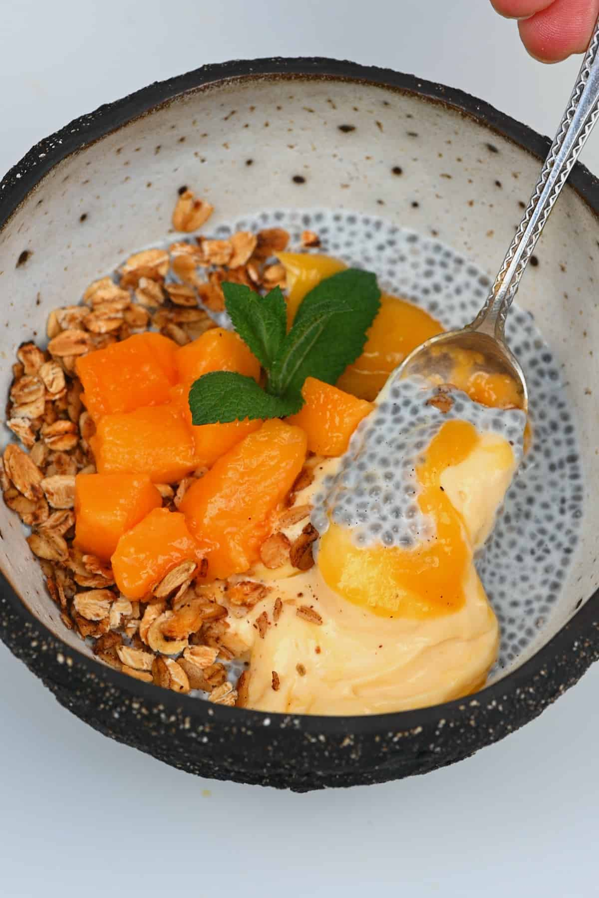 Spoonful of mango chia breakfast
