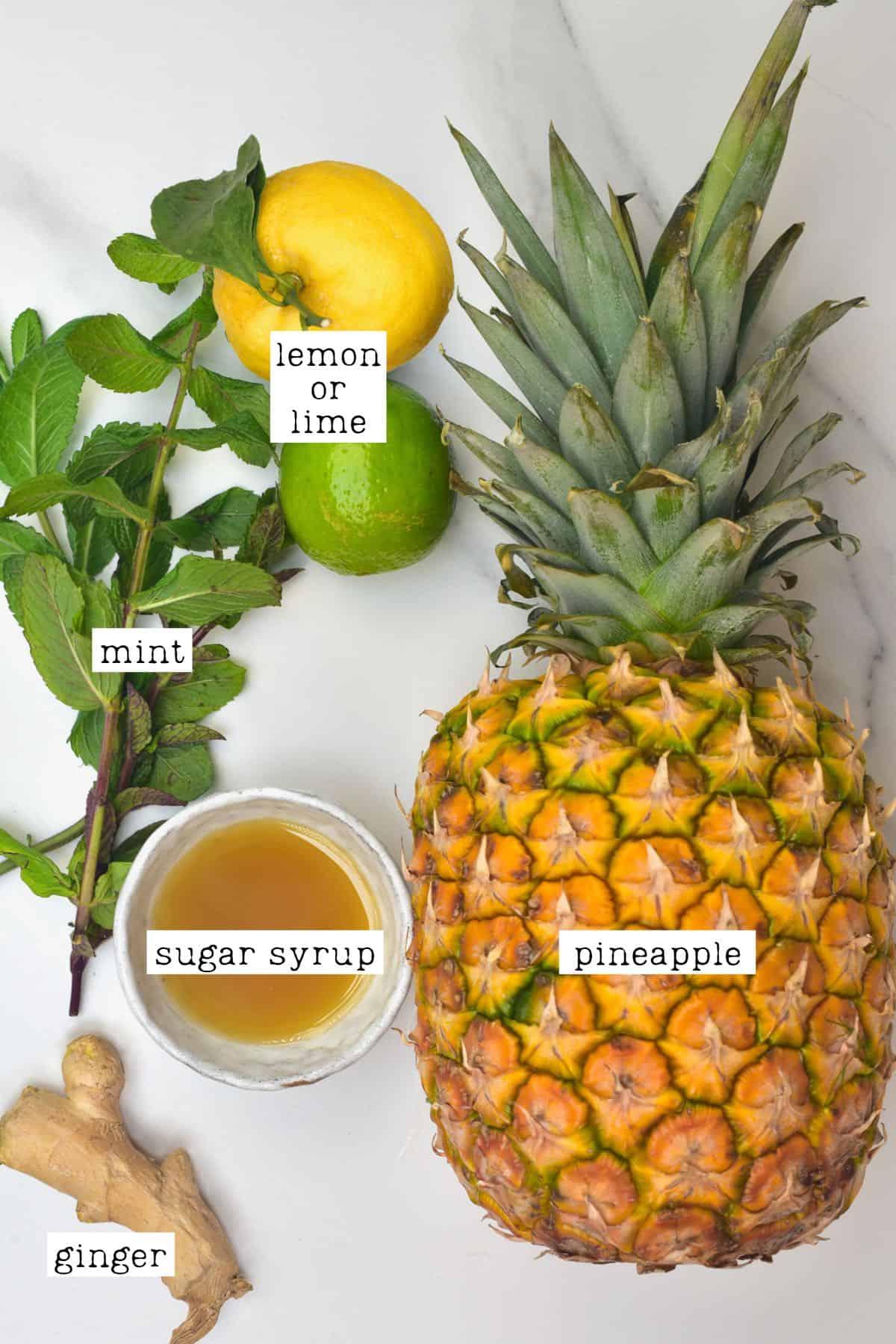 Ingredients for pineapple lemonade