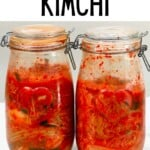 Two jars with homemade kimchi