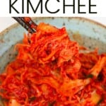 A serving of homemade kimchi