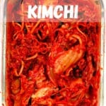 A container with homemade kimchi