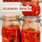 Three jars with homemade kimchi