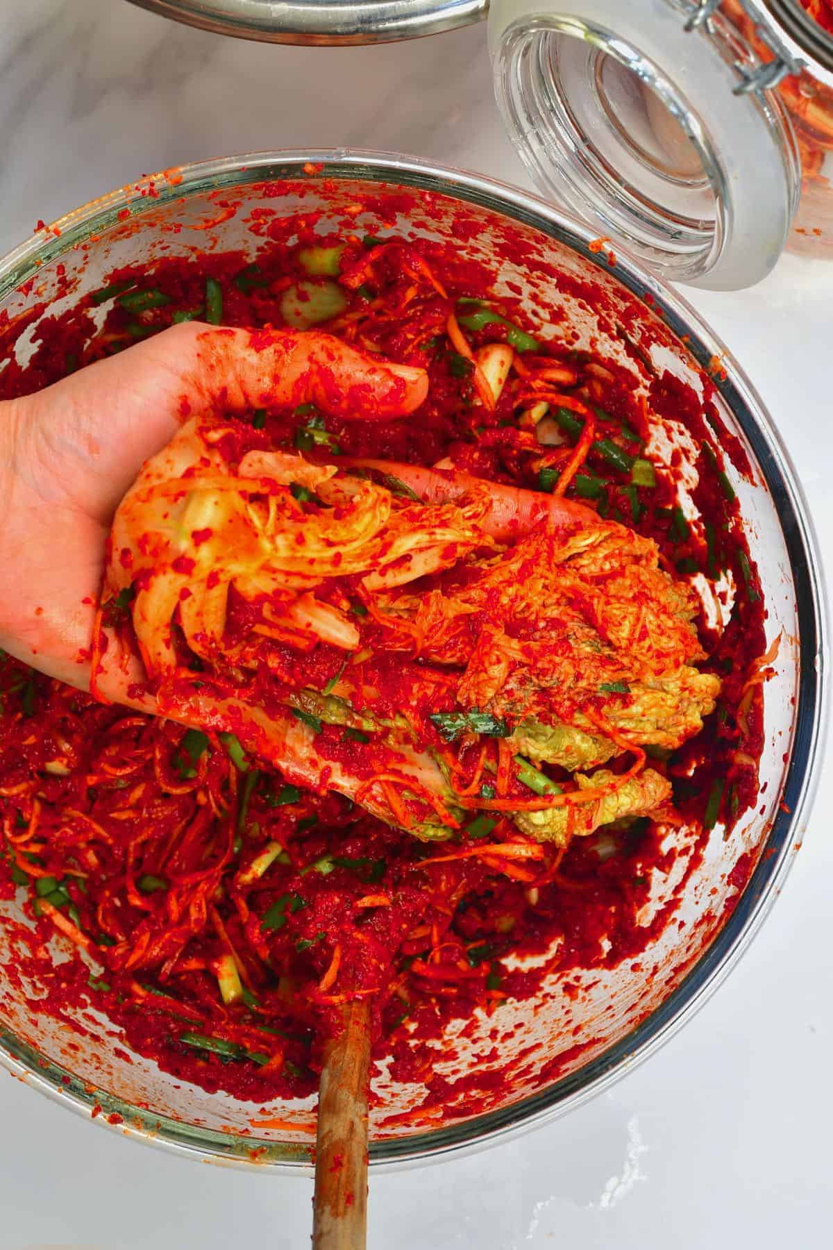 Napa cabbage filled with kimchi paste