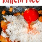 Adding kimchi juice to rice in a pan