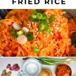 Kimchi fried rice and ingredients to make it