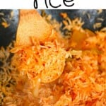 A spoonful of kimchi fried rice