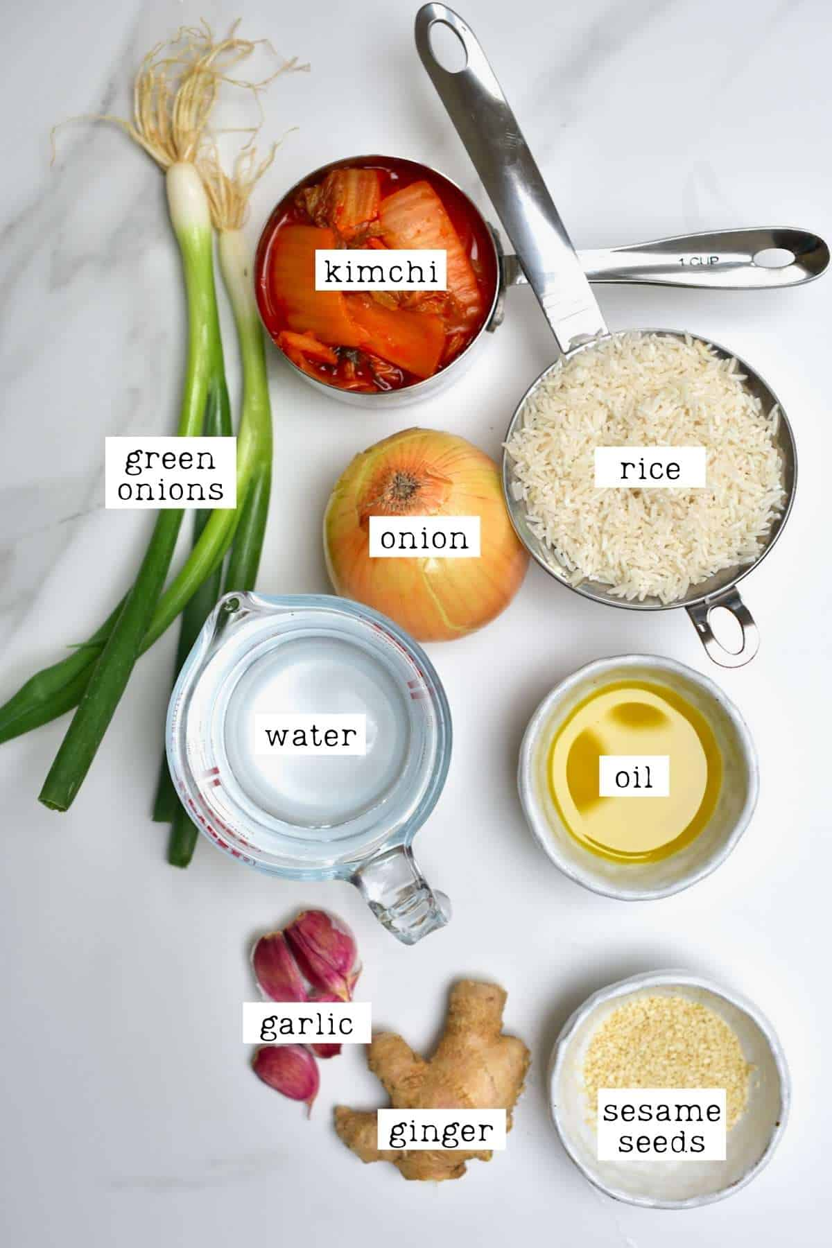 Ingredients for kimchi rice