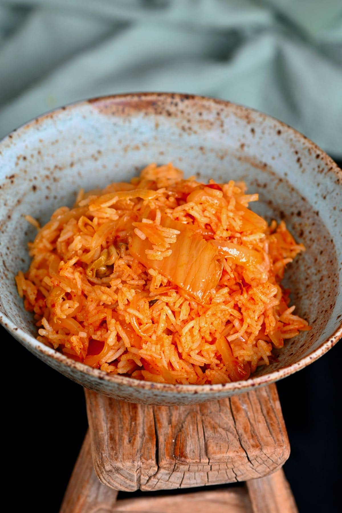 Kimchi fried rice in a bowl