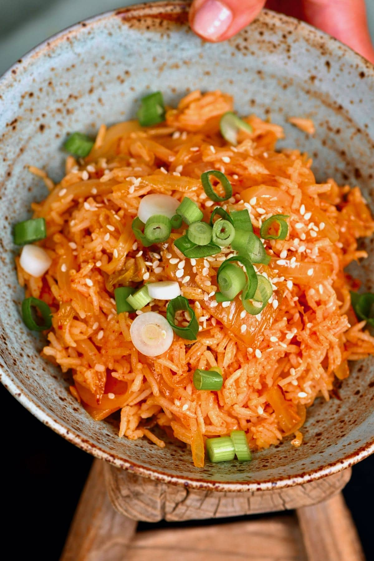 A bowl with kimchi fried rice
