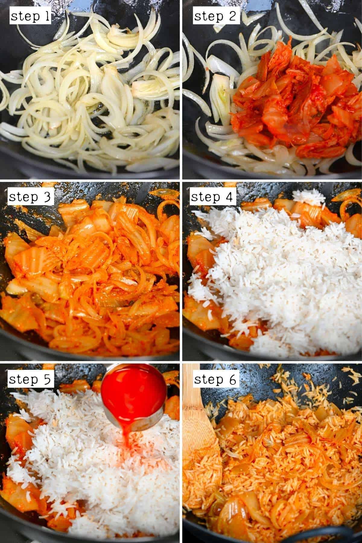 Steps for preparing kimchi rice