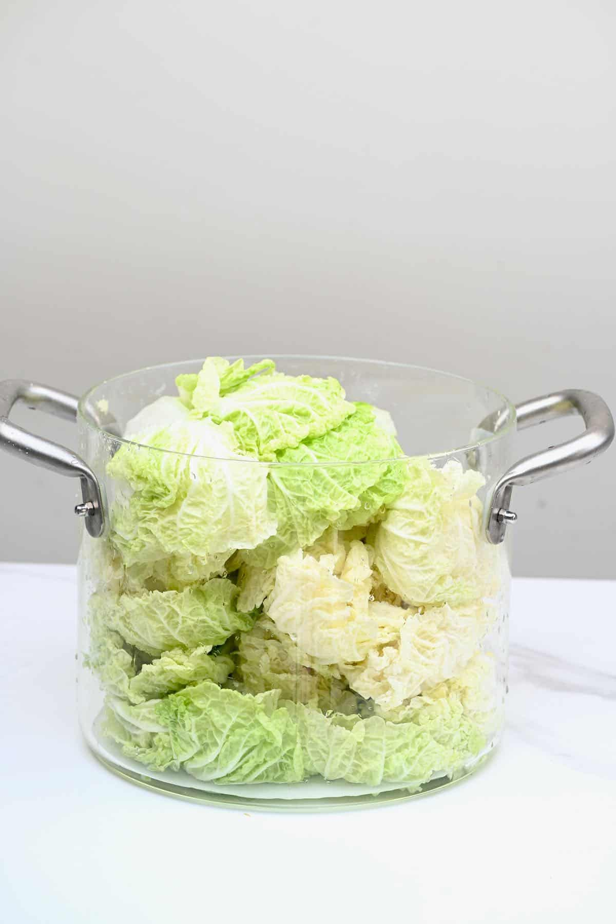 Salted cabbage in a pot