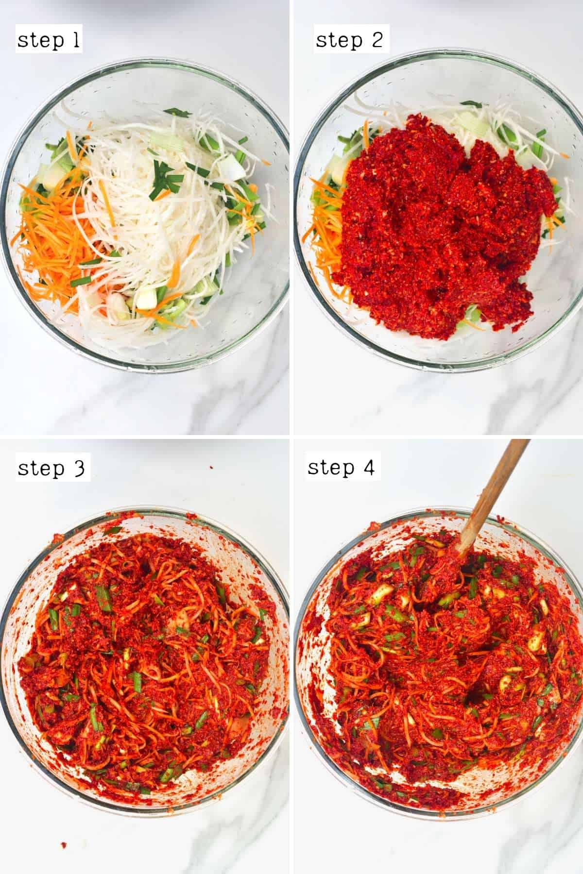 Steps for making kimchi paste with veggies