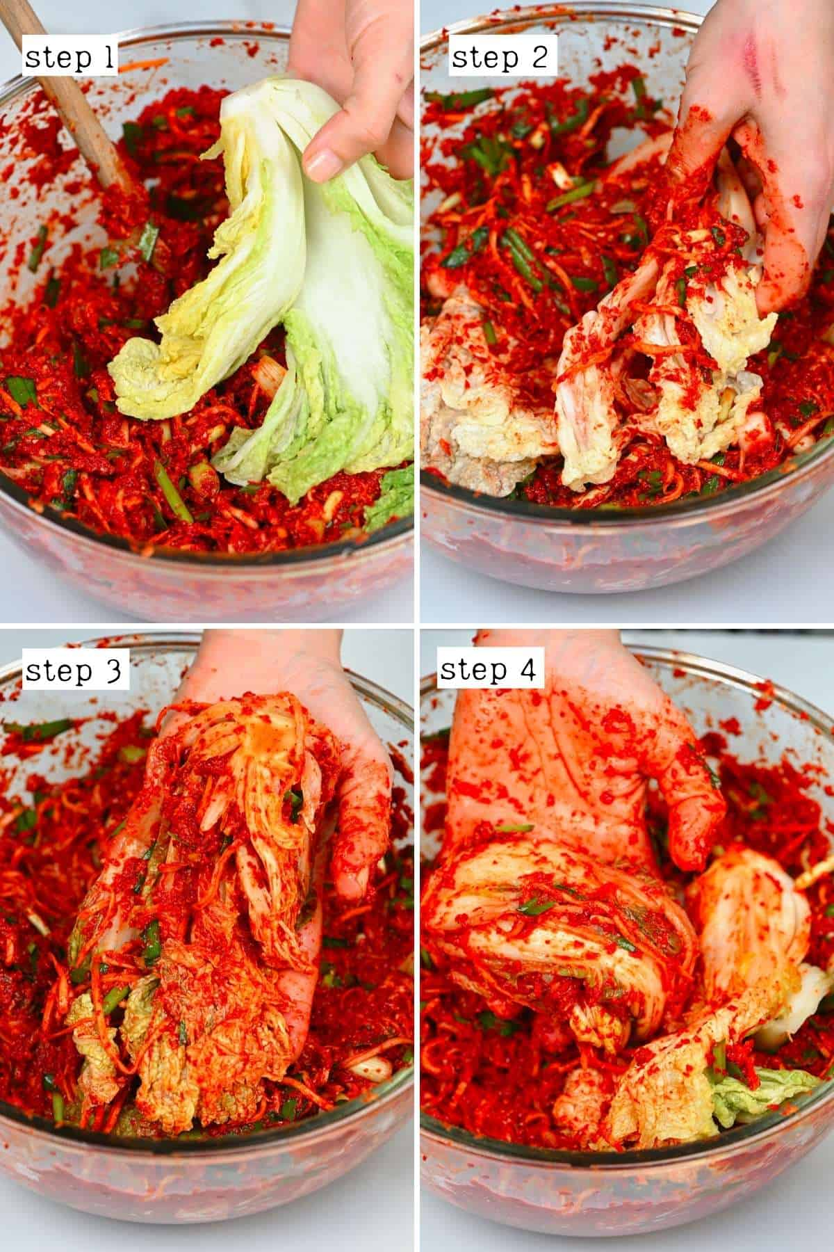 Steps for making kimchi