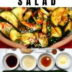 Korean cucumber spicy salad in a bowl and ingredients to make it