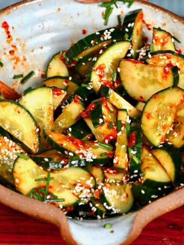 Korean cucumber salad in a bowl