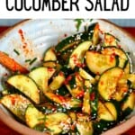 Korean cucumber spicy salad in a bowl