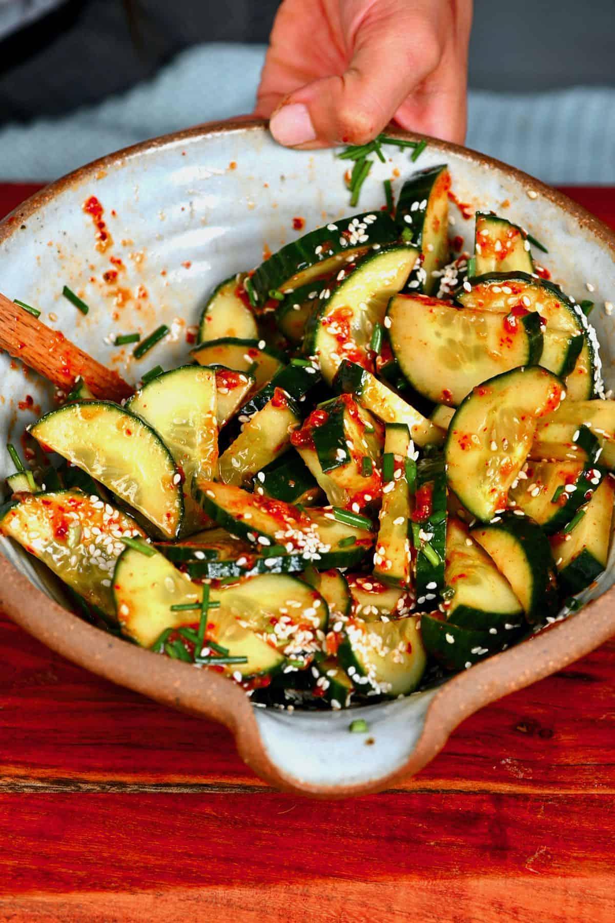 A bowl with Korean cucumber salad