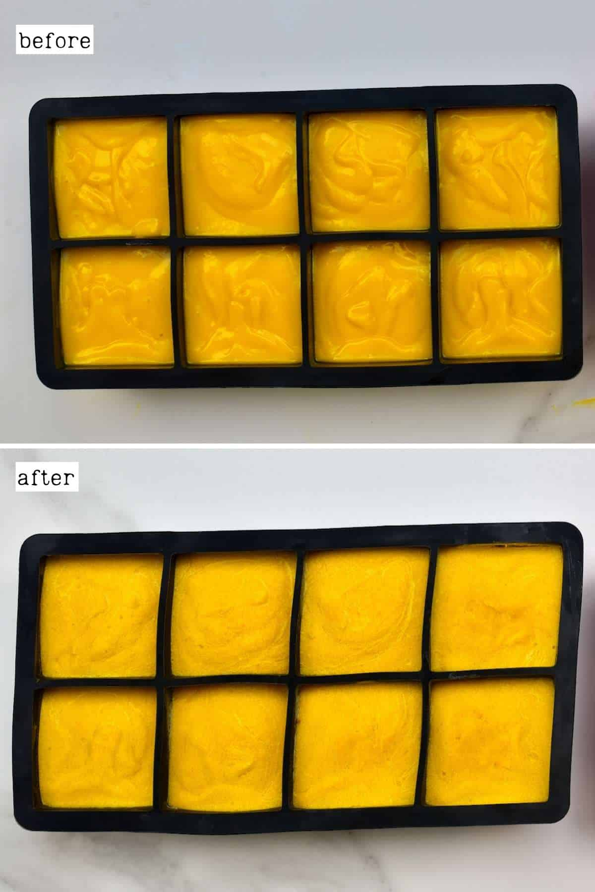 Before and after freezing mango puree