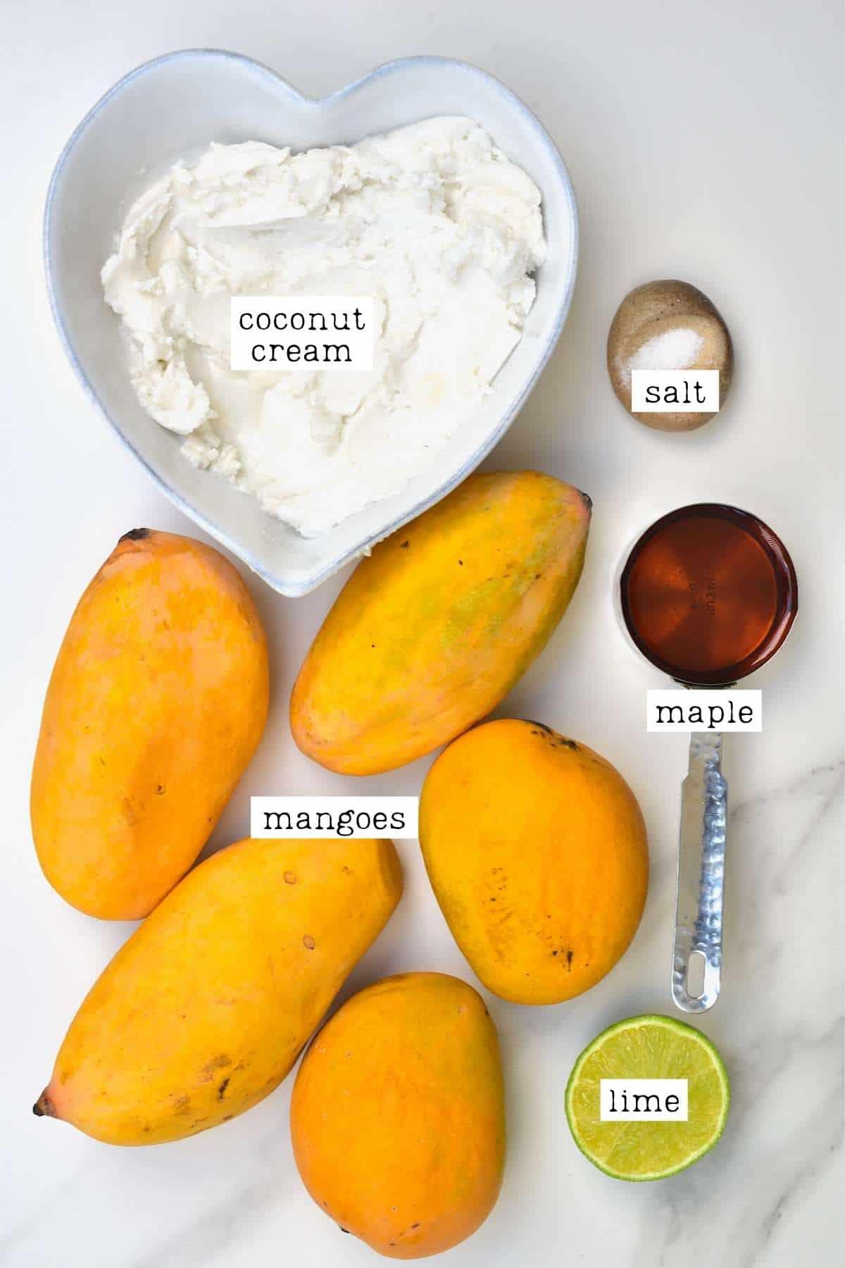 Ingredients for mango ice cream