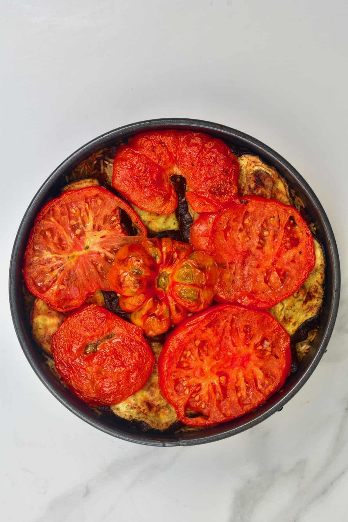 Maqluba in a baking dish