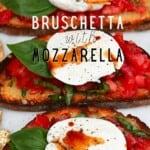 Three Tomato and mozzarella bruschetta
