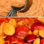 A scoop of peach ice cream and peaches