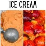 Peach ice cream and peaches
