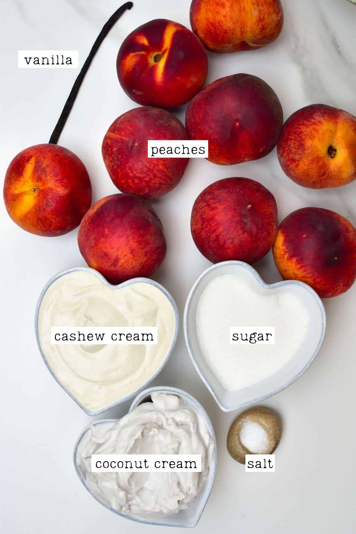 Ingredients for peach ice cream