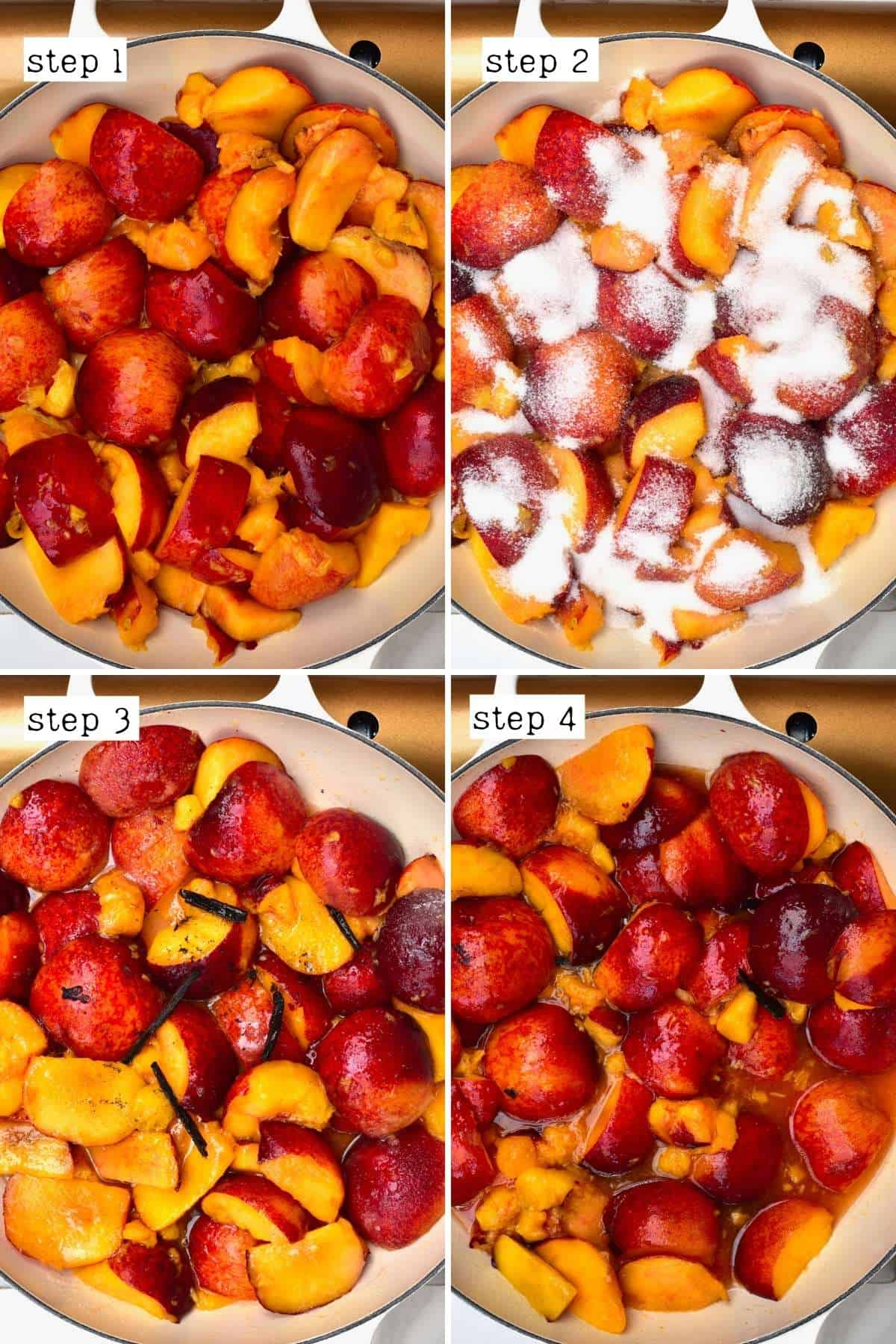 Steps for cooking peaches with sugar