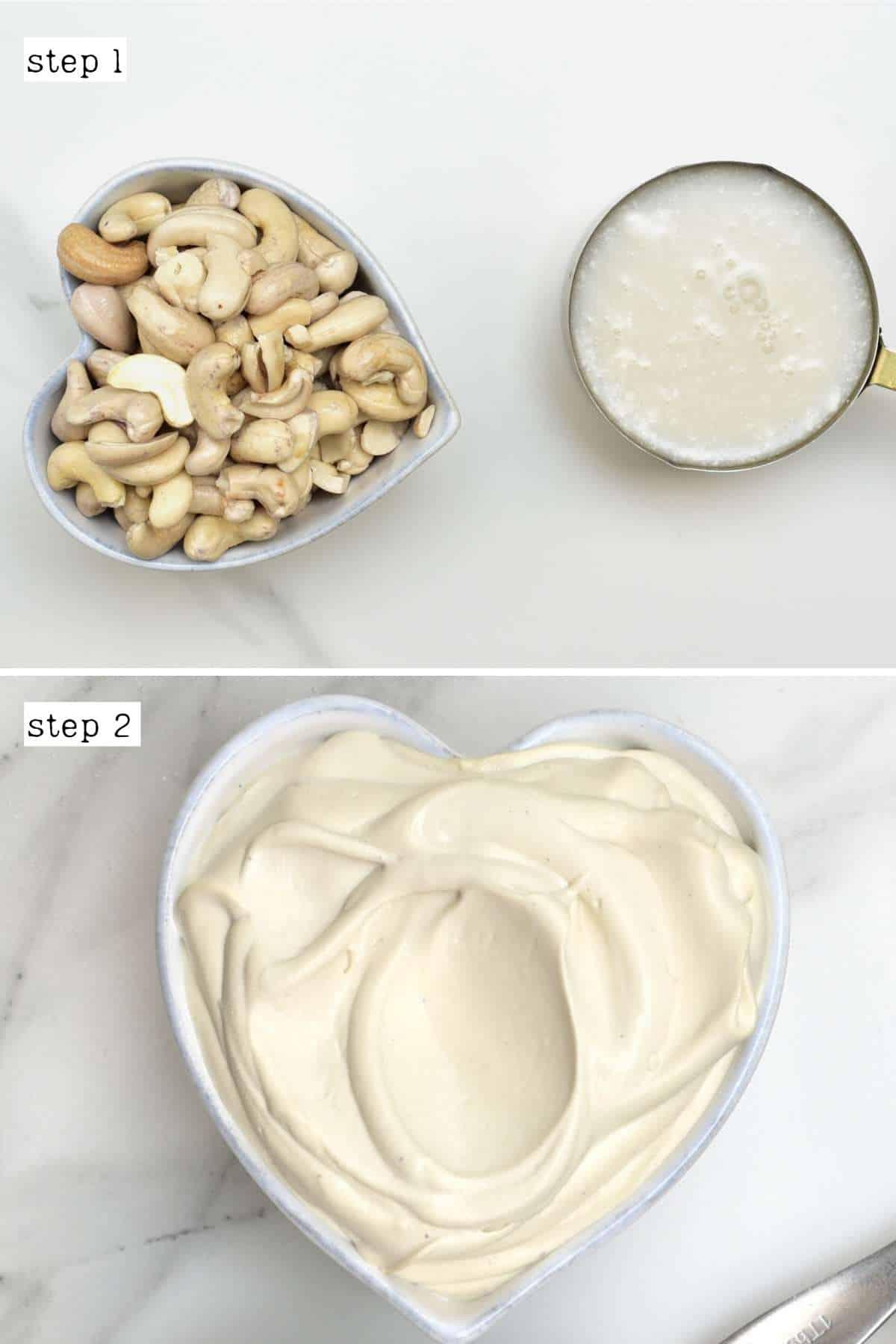 Steps for making cashew cream