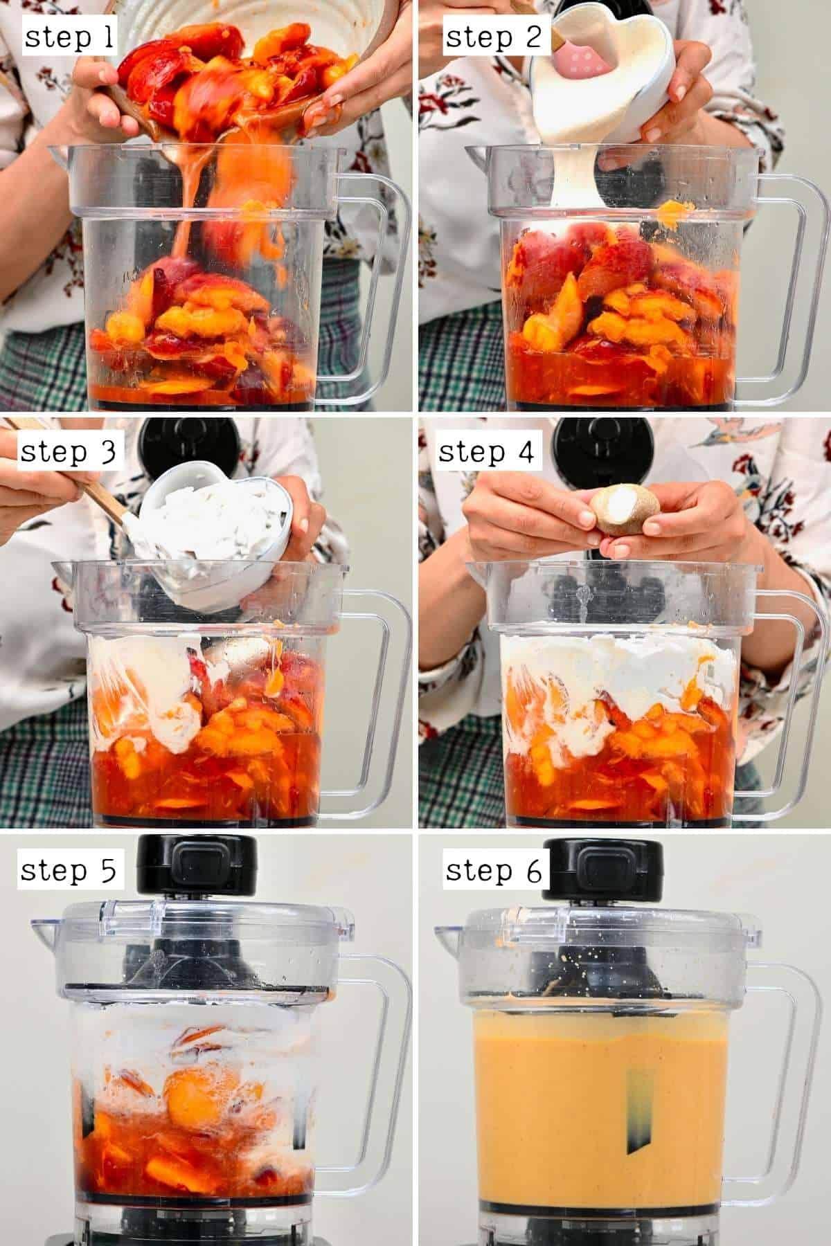 Steps for preparing base for peach ice cream