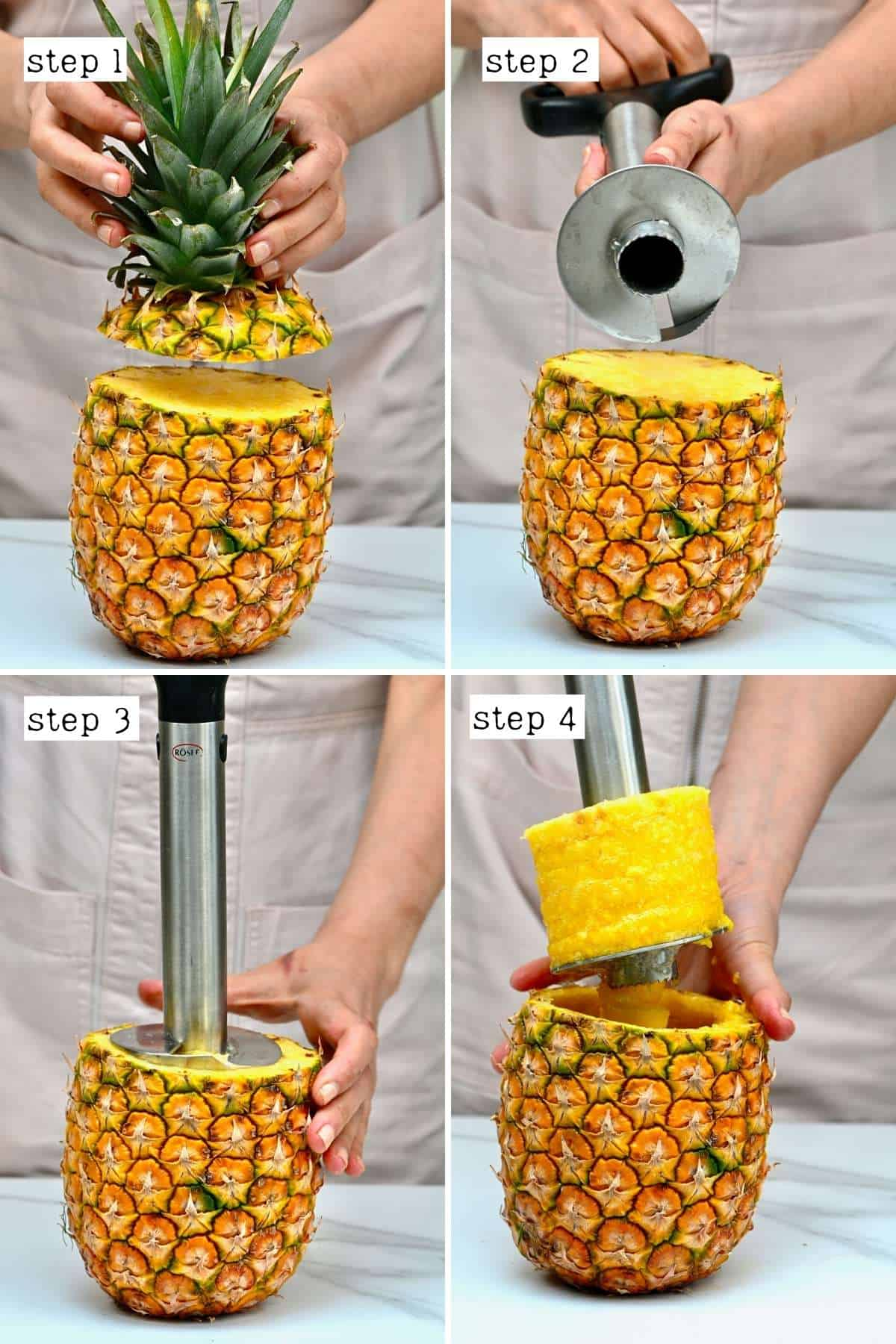 Steps for coring a pineapple