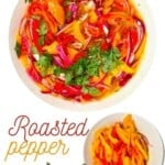 Roasted pepper salad with parsley in a bowl