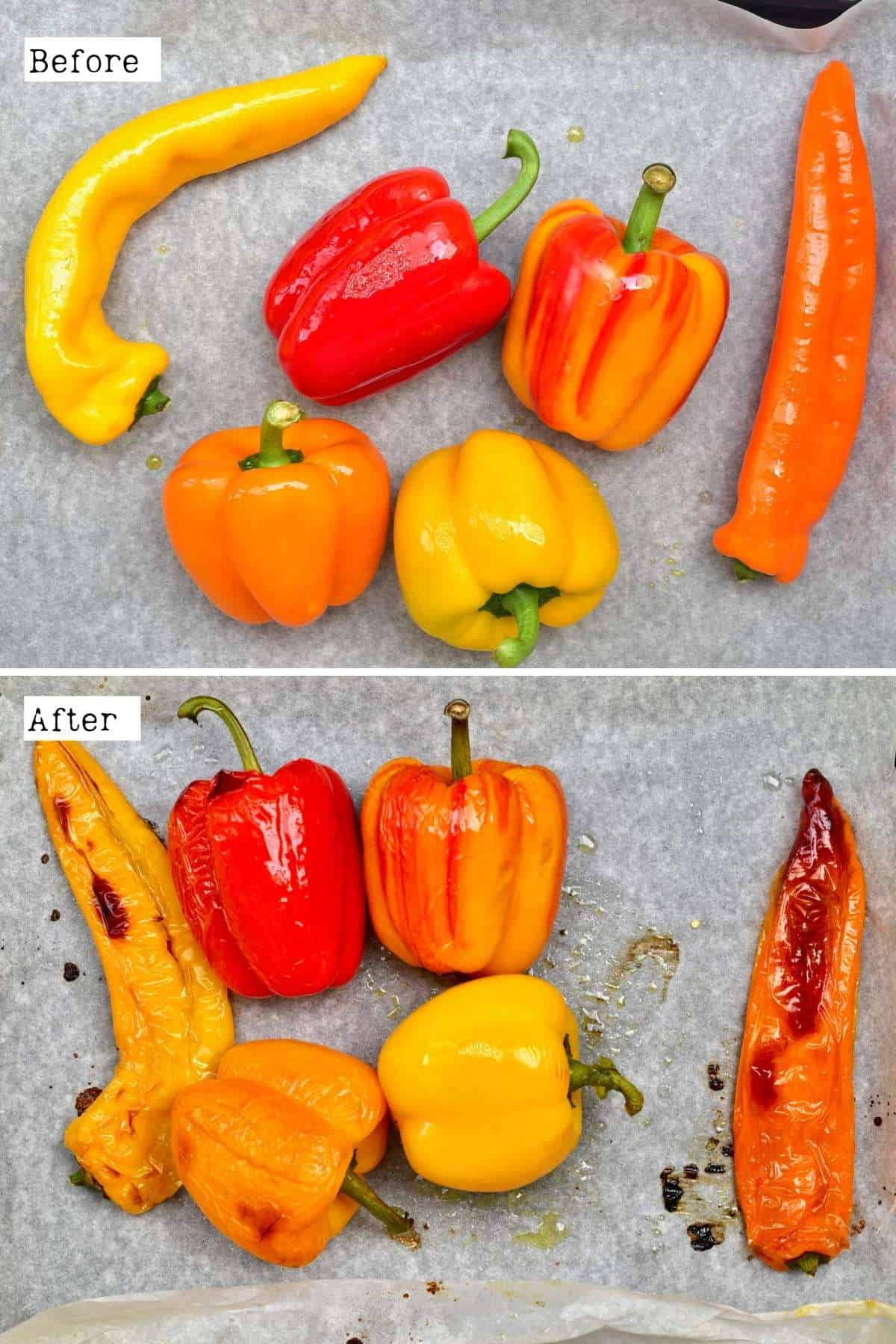 Before and after roasting peppers