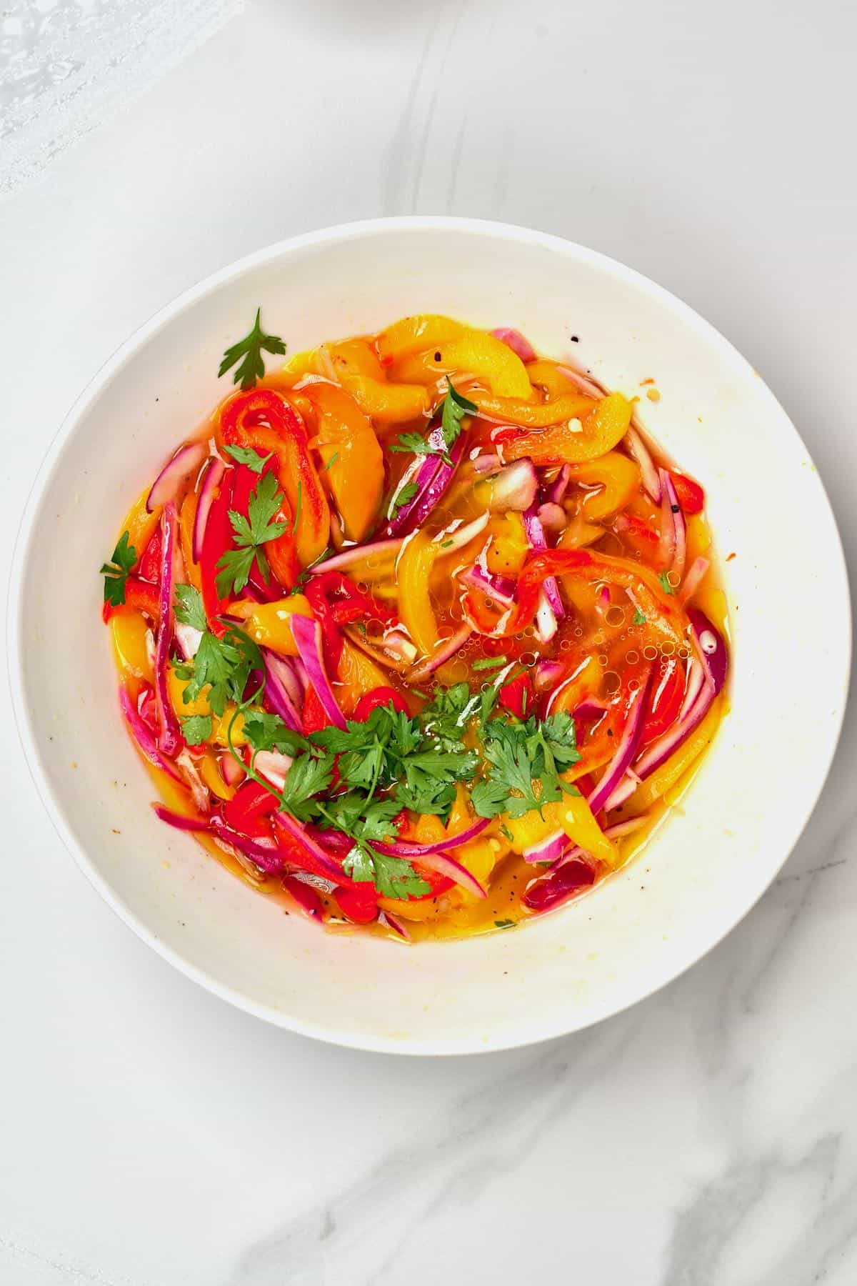 Roasted red pepper salad in a bowl