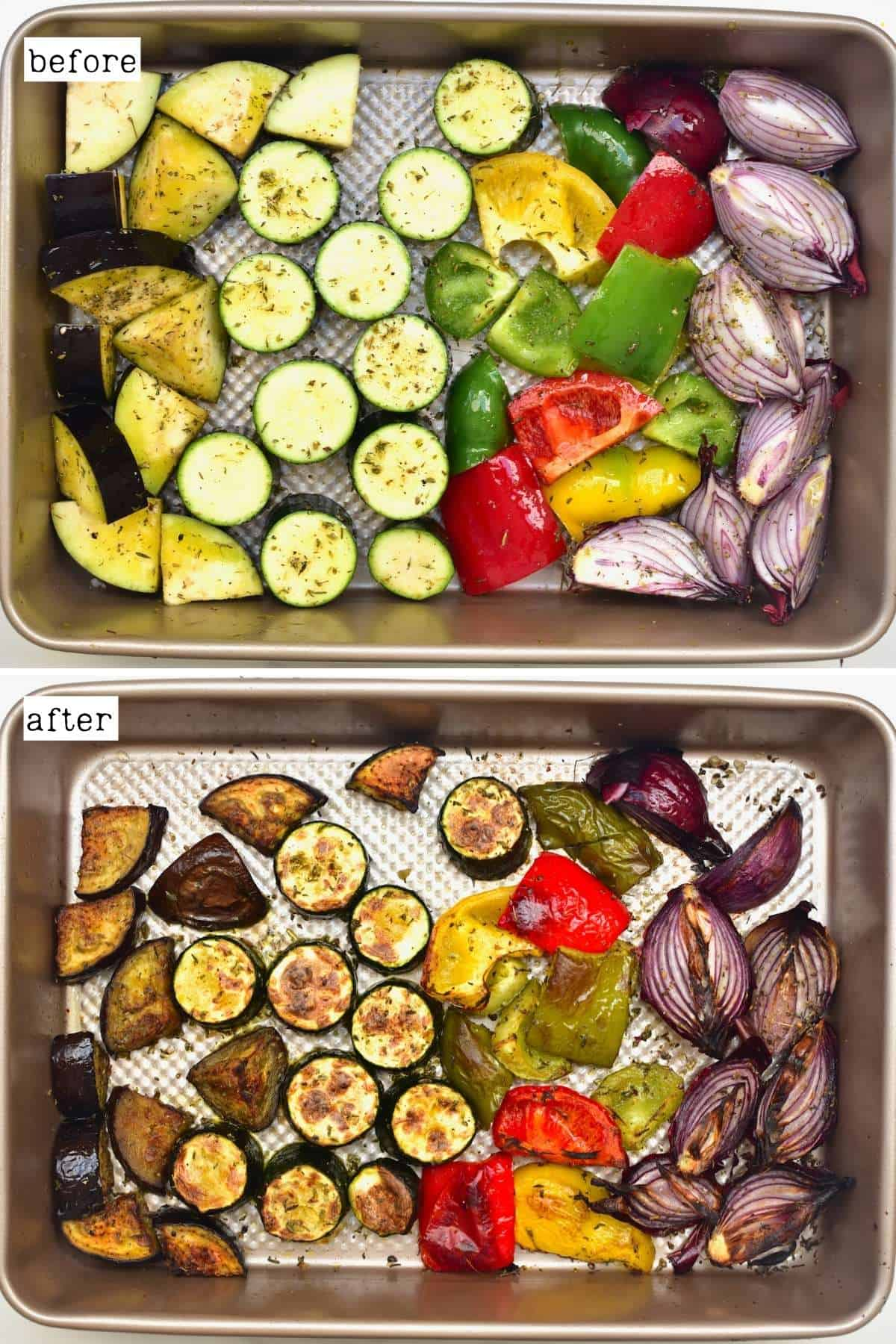Before and after roasting Mediterranean roasted vegetables