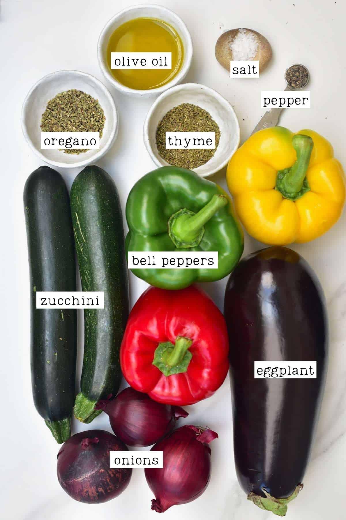 Ingredients for Mediterranean roasted veggies