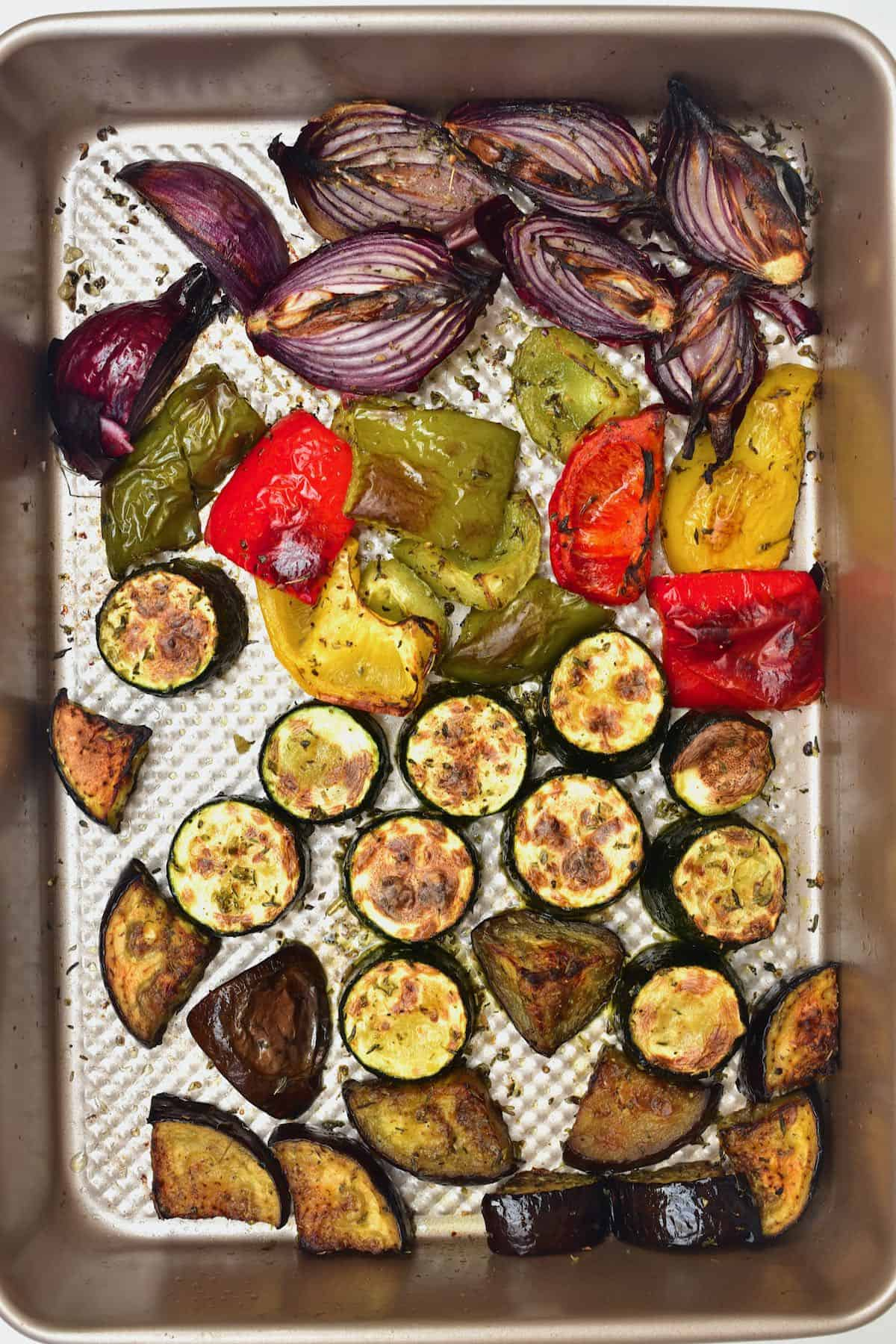 Roasted Mediterranean vegetables in a baking tray