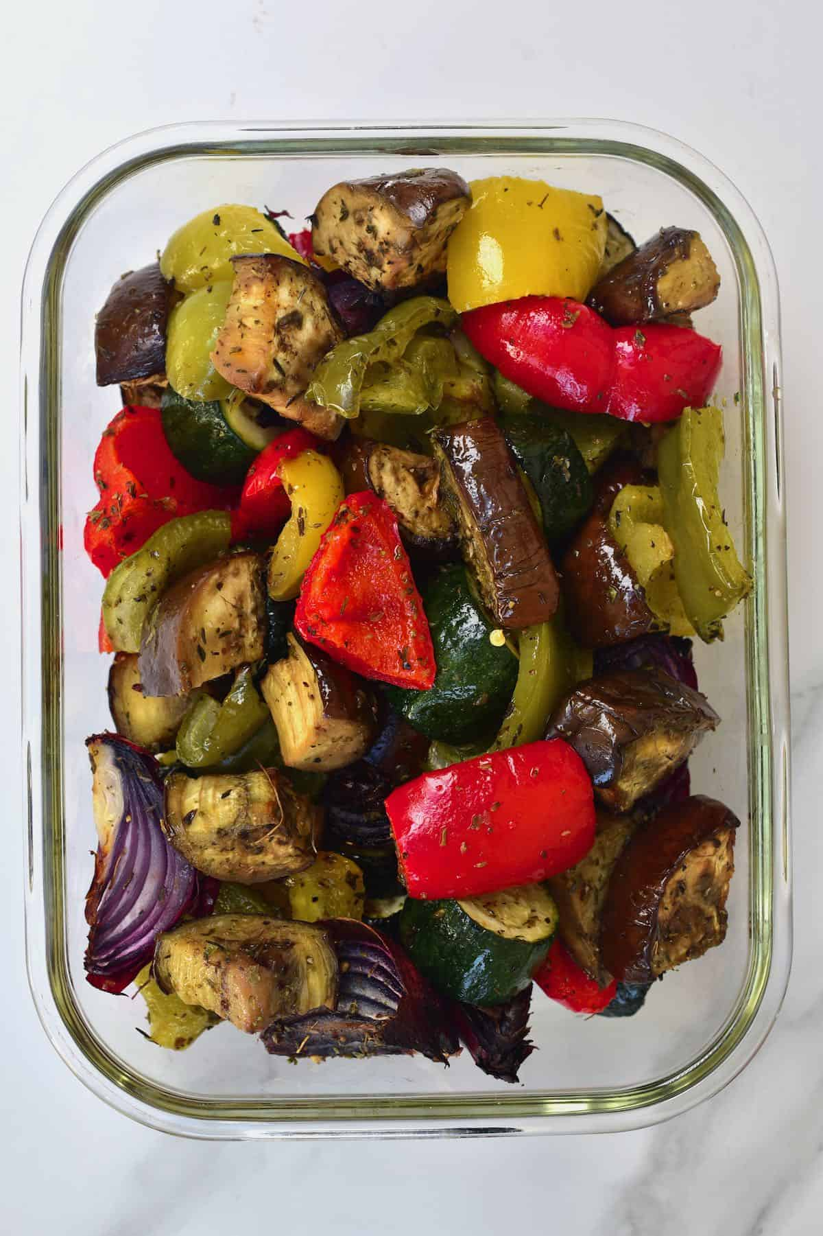 Mediterranean roasted vegetables in a small container