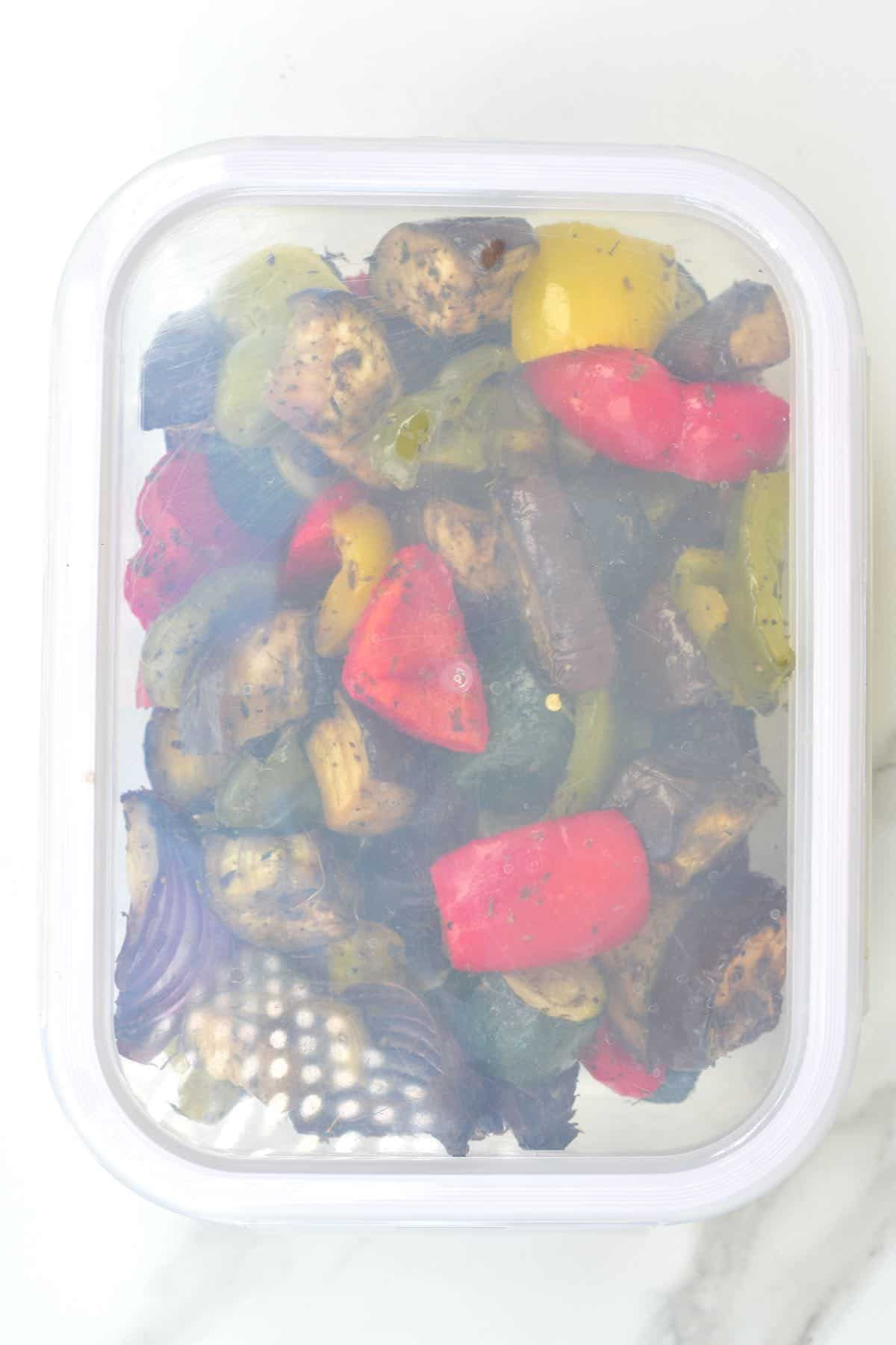 Roasted veggies in a container