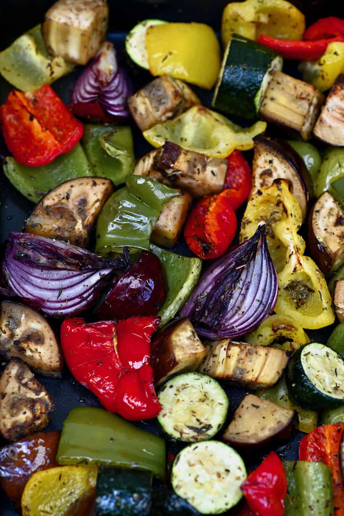 Roasted veggies in a tray