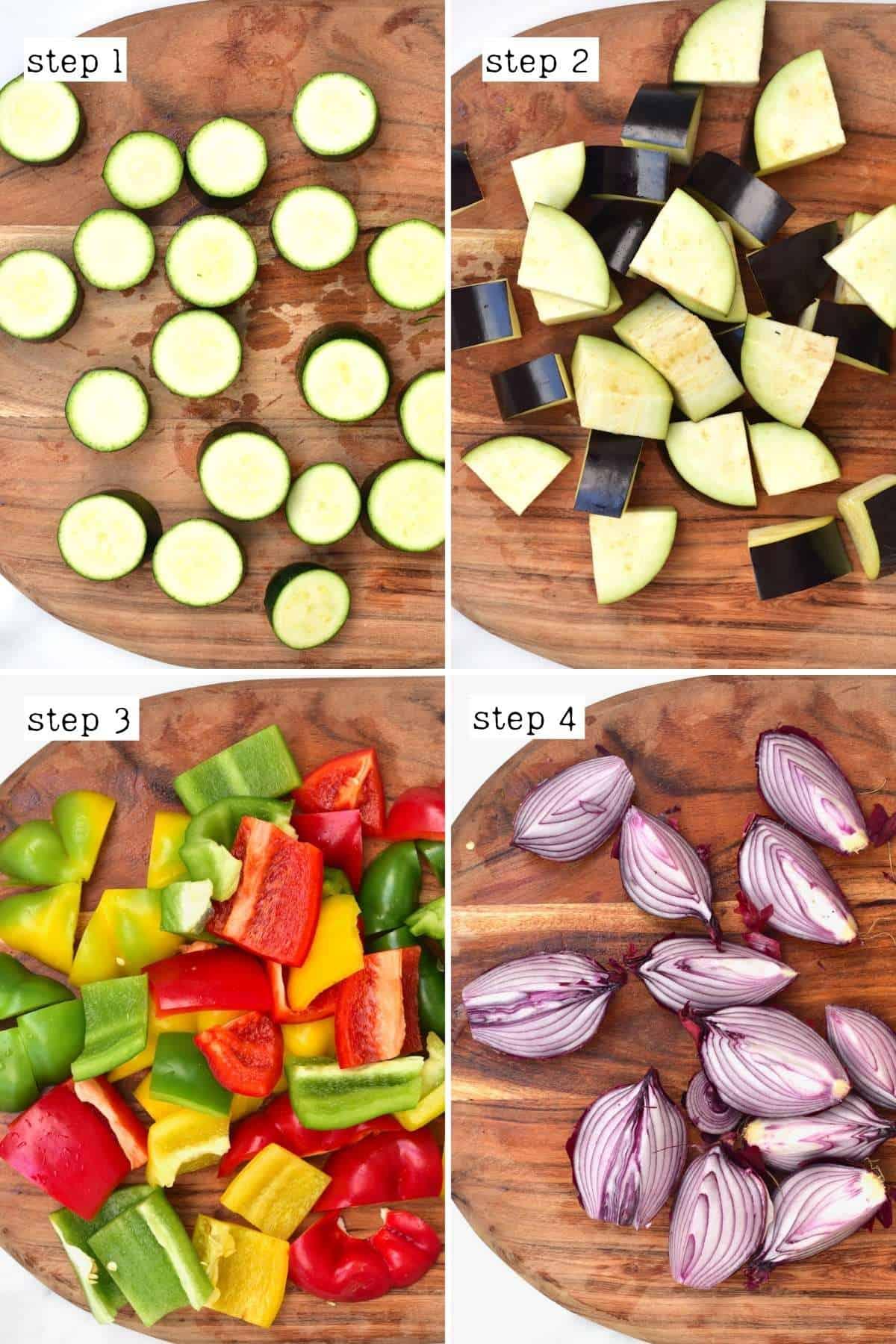 Steps for chopping veggies