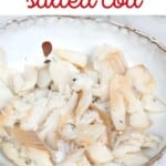 Salted cooked cod in a bowl