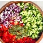 Cut ingredients for a shirazi salad