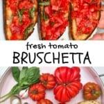 Three tomato bruschetta and ingredients to make them