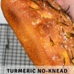 A turmeric no-knead focaccia