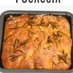 A turmeric no-knead focaccia in a baking tray