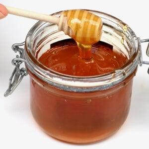 Vegan dandelion honey in a jar